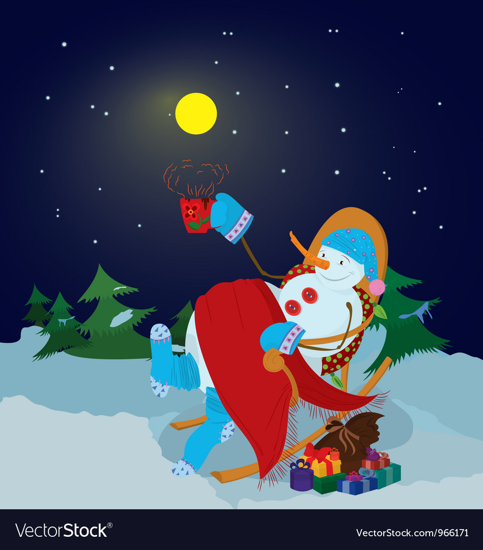Snowman with cup