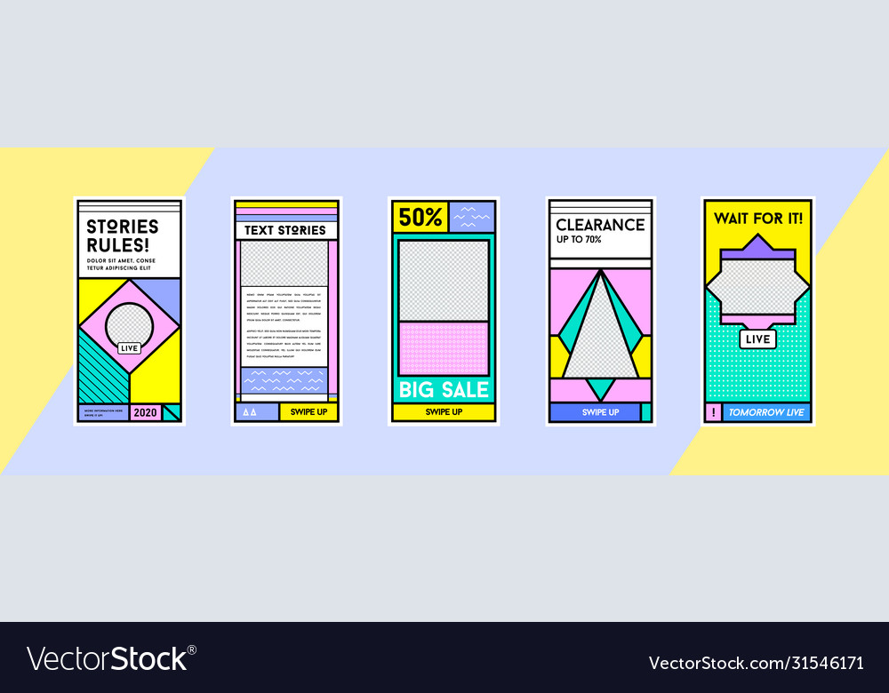 Stories template set in memphis retro style