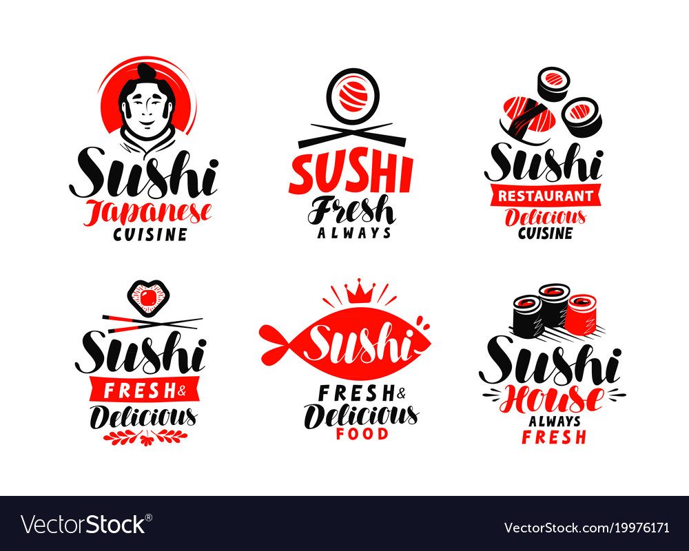 Sushi Japanese Cuisine Logo Or Label Set Of Vector Image