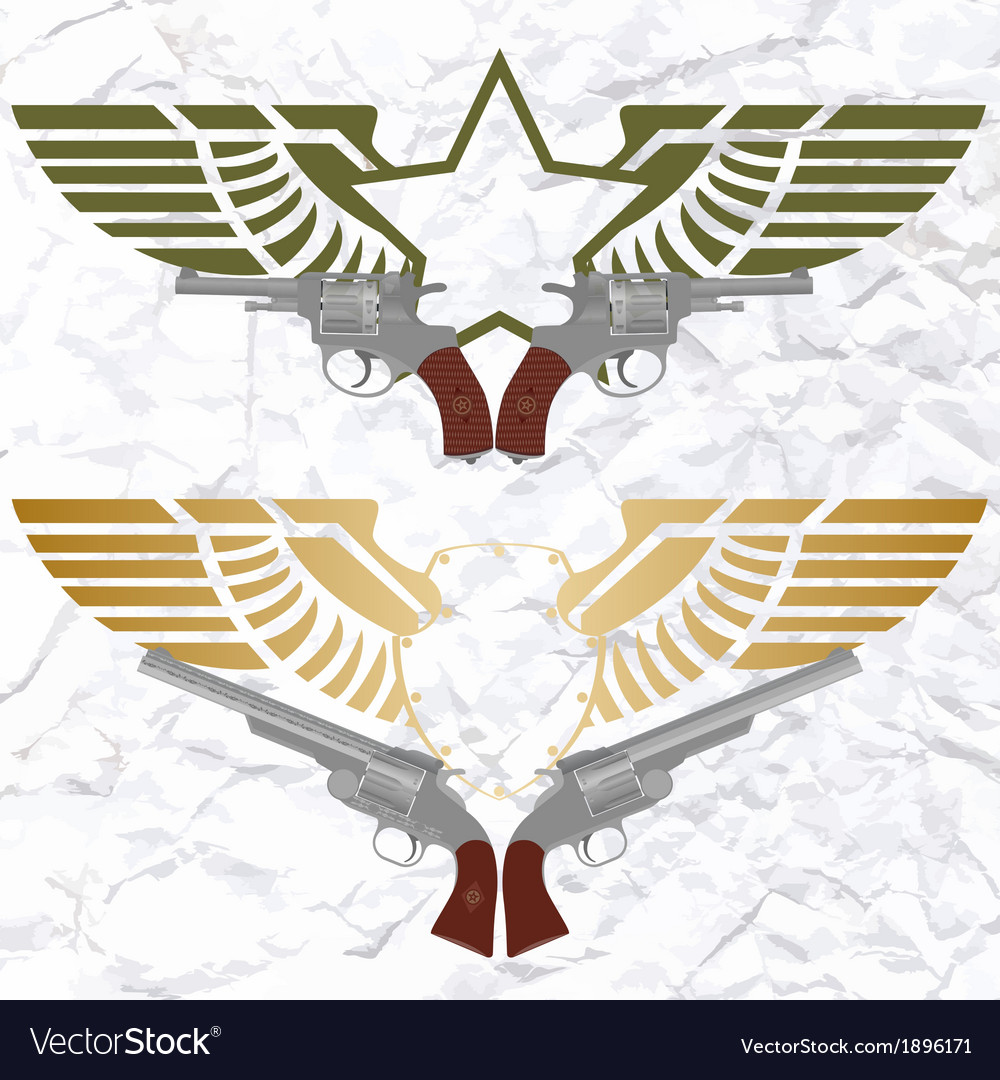The star icon with wings and revolvers vector image