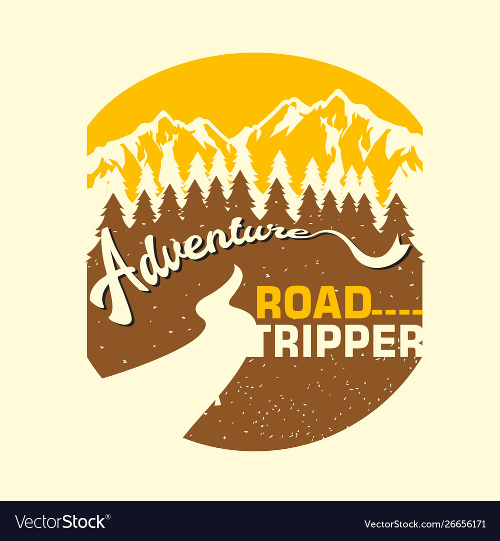 Vintage adventure road tripper mountain and