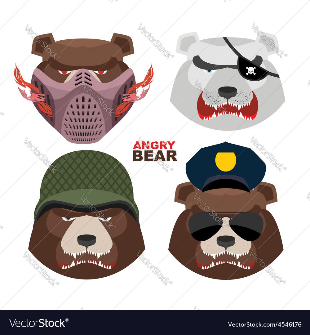 Bears set A masked bear polar bear grizzly bear
