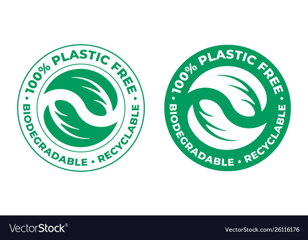 Biodegradable plastic free recyclable icon 100