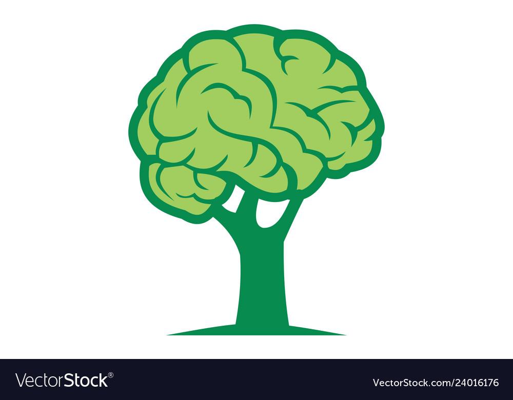 Brain tree logo design icon