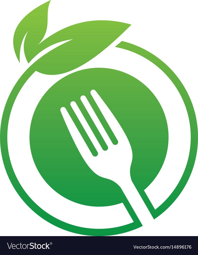 Circle leaf fork eco logo image