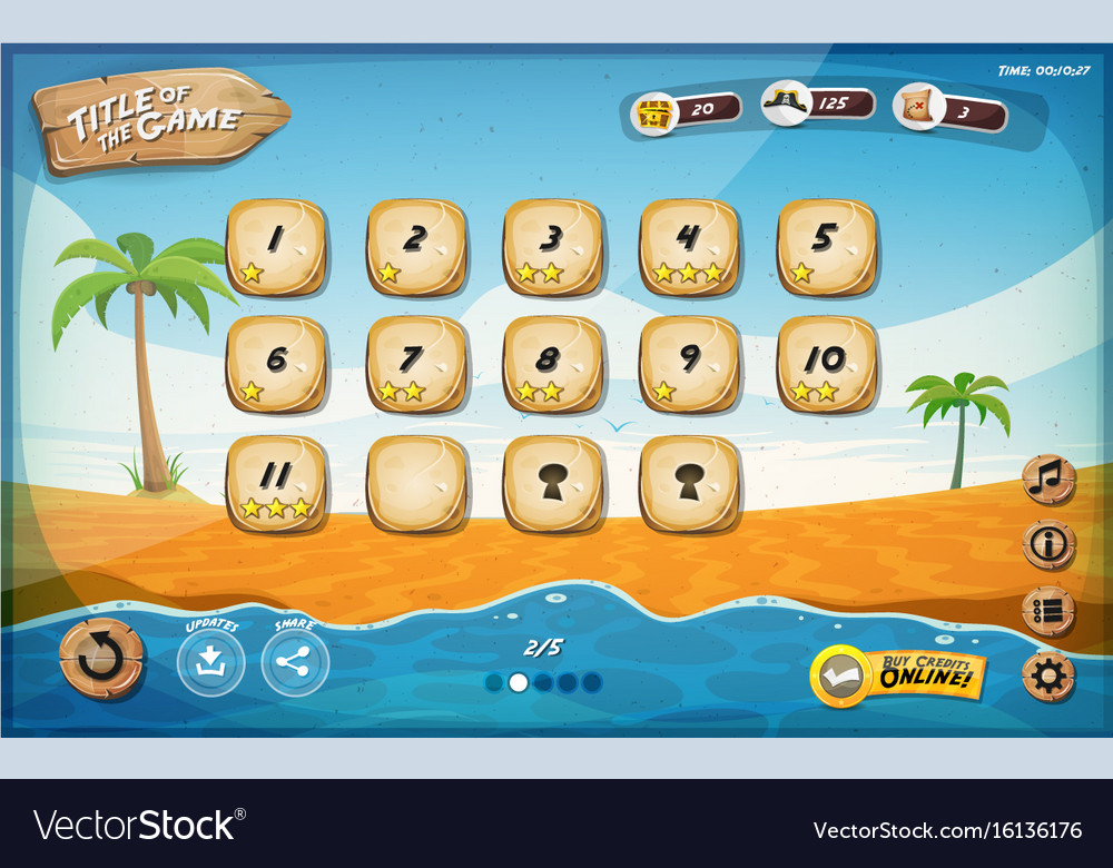 Desert island game user interface design for