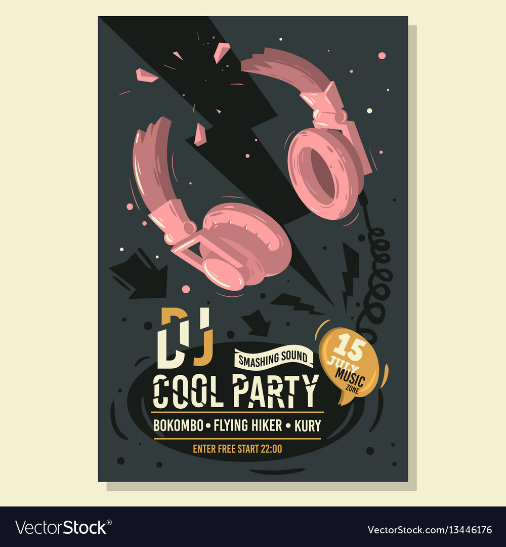 Dj party poster flyer design with broken