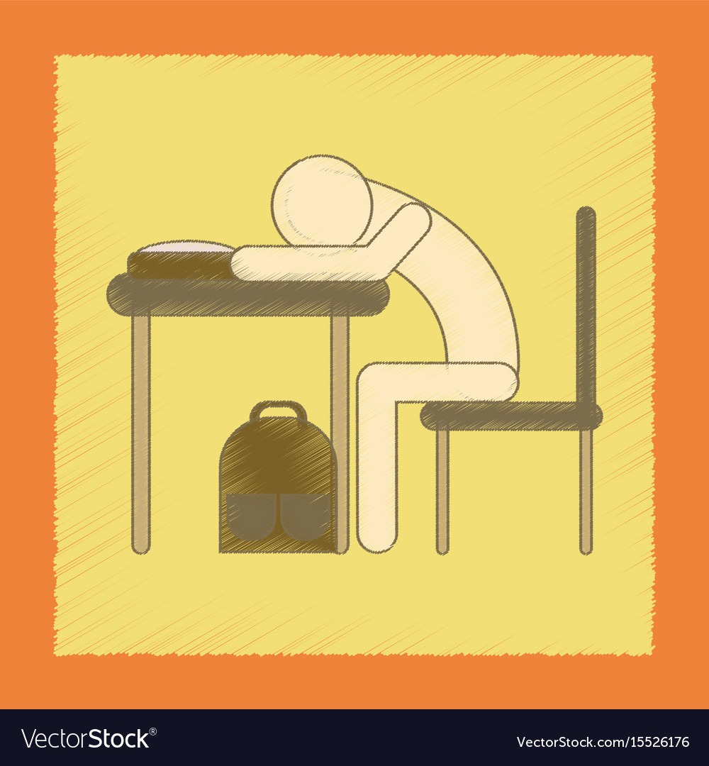Flat shading style icon student sleeping at the