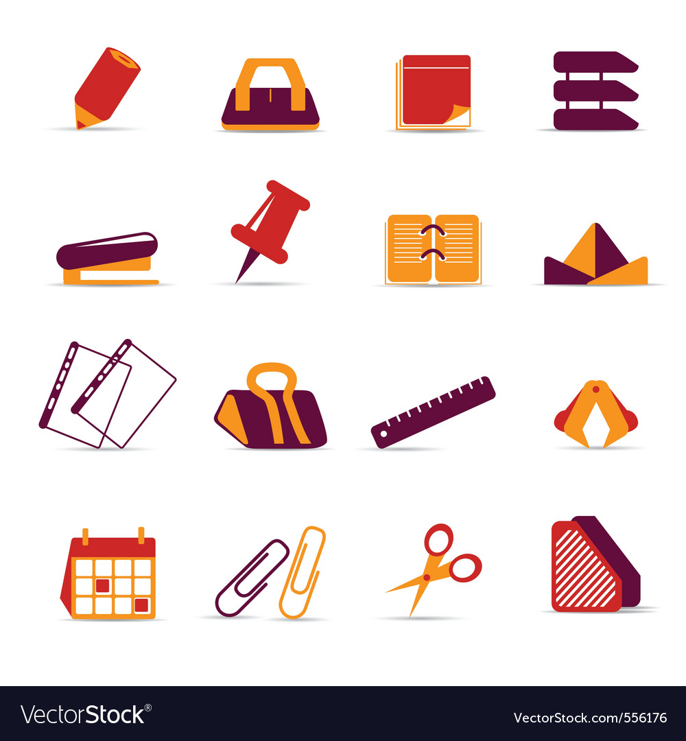 office accessories icons royalty free vector image
