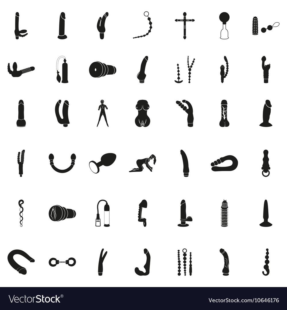 Set of Simple Black Sex Shop Icons vector image