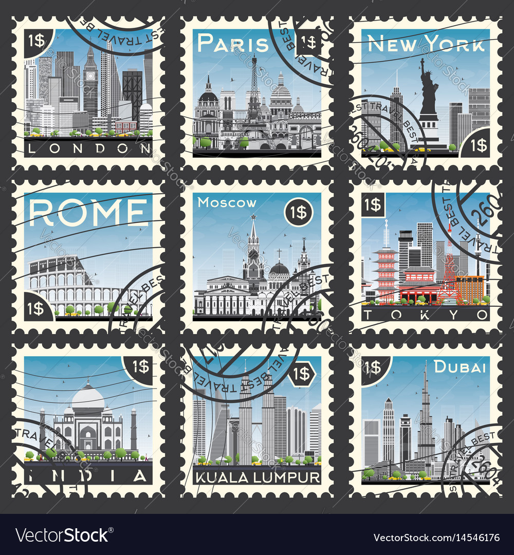 Set of stamps with different city and landmarks