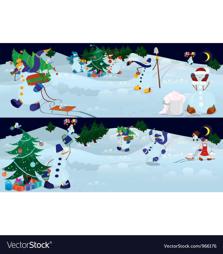 Snowmen living in magic forest