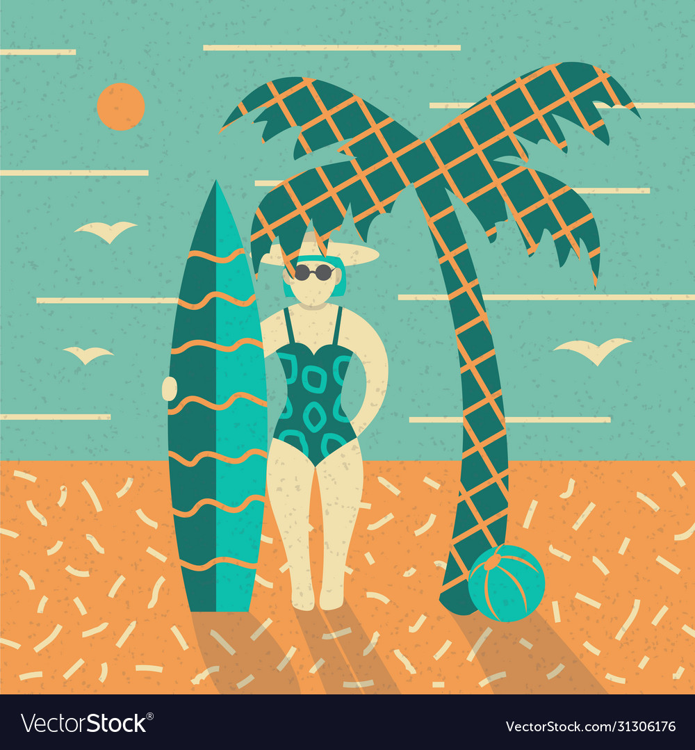 Summer poster beach palm and girl with surfboard