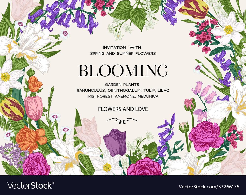 Summer wedding invitation with flowers