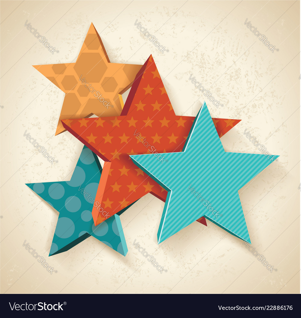 Vintage colorful 3d stars pattern