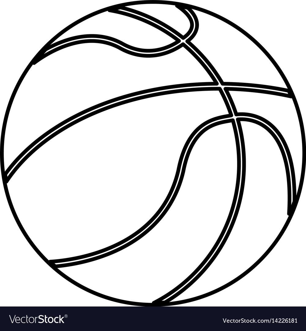 Ball basketball sport equipment outline vector image