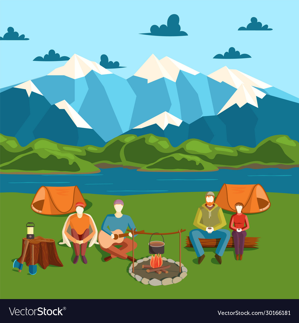 Camping tent banner with flat tourist outdoor