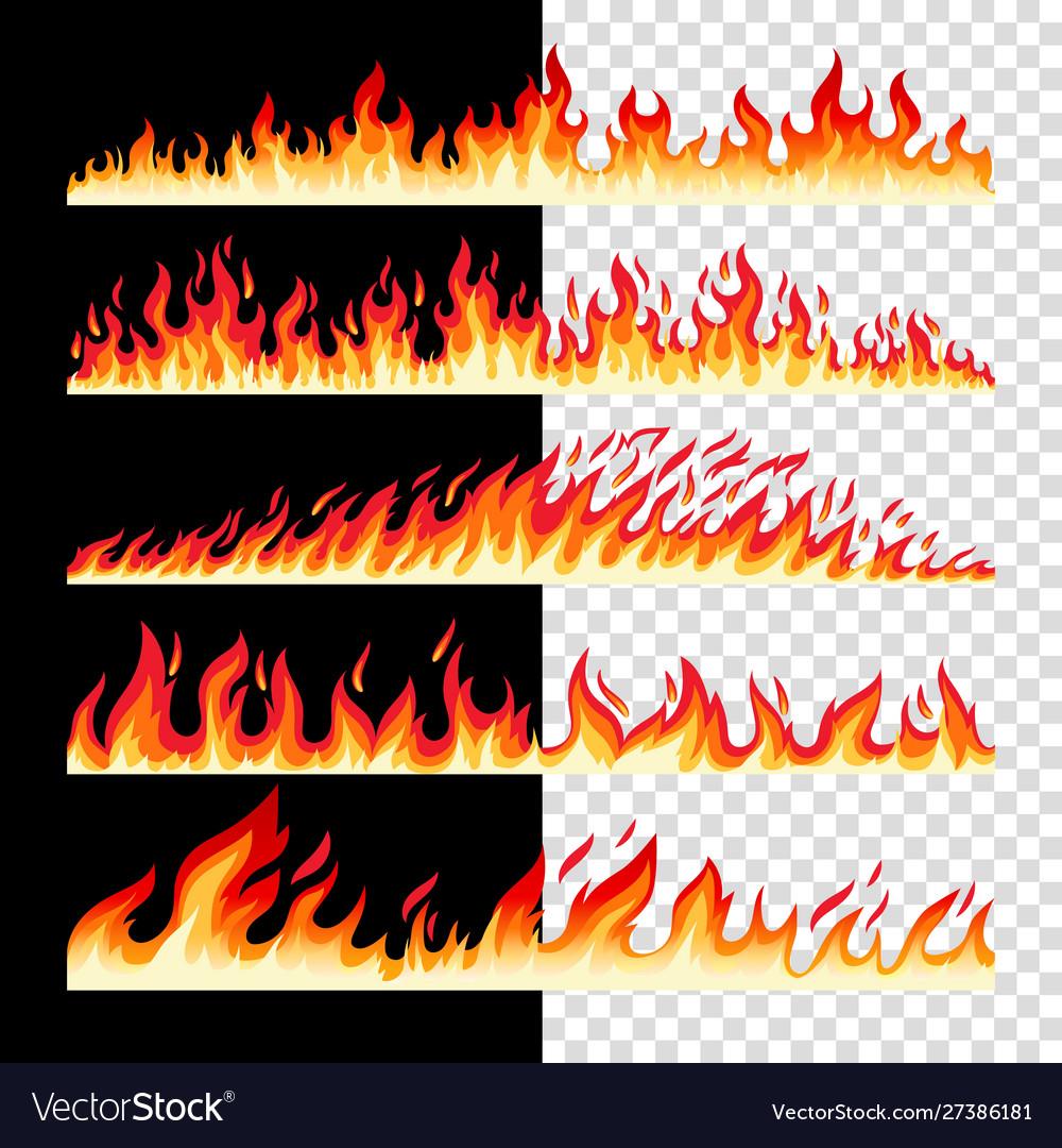 Horizontal seamless fire borders