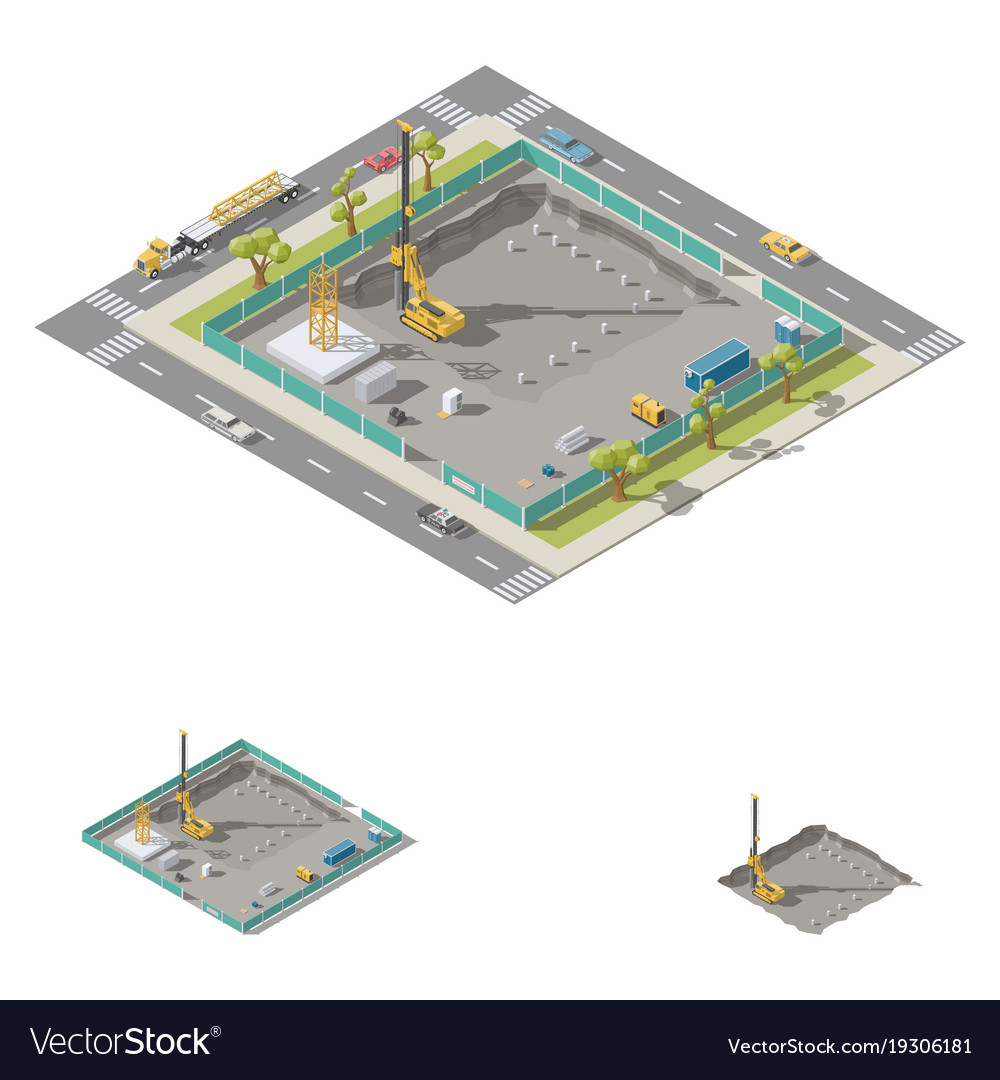Koper install piles at construction site isometric