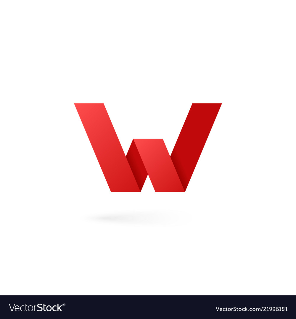 Letter w logo alphabet on white background