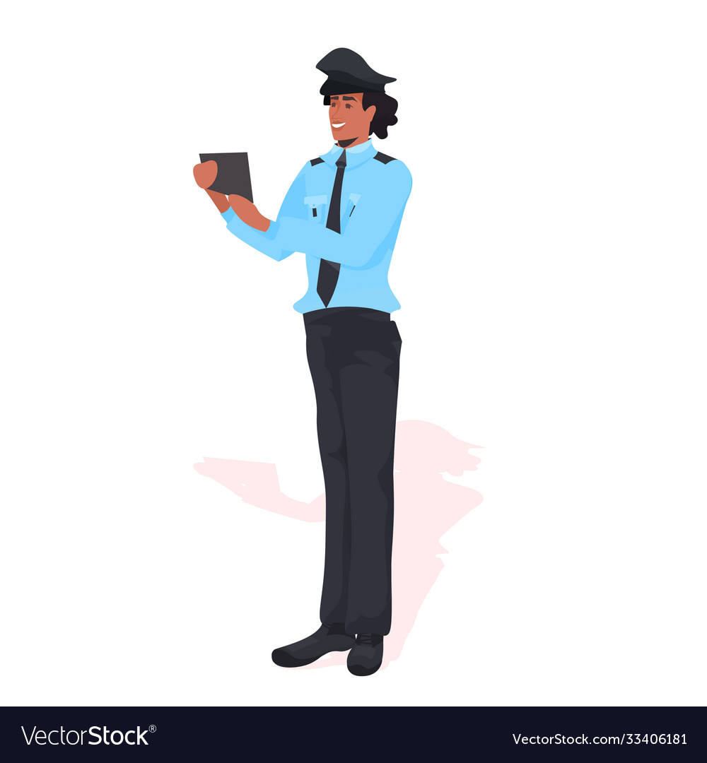 Male police officer using tablet pc policeman