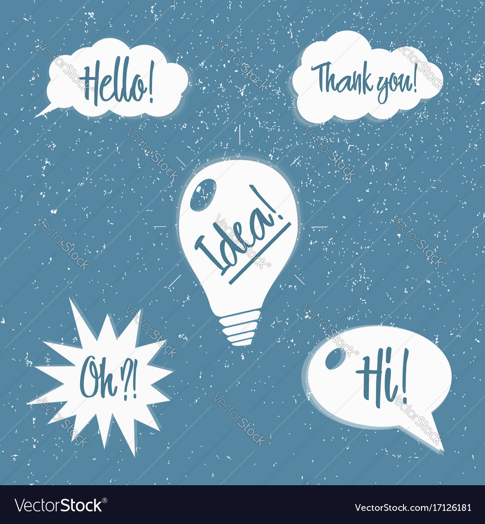 Set of speech bubbles with phrases