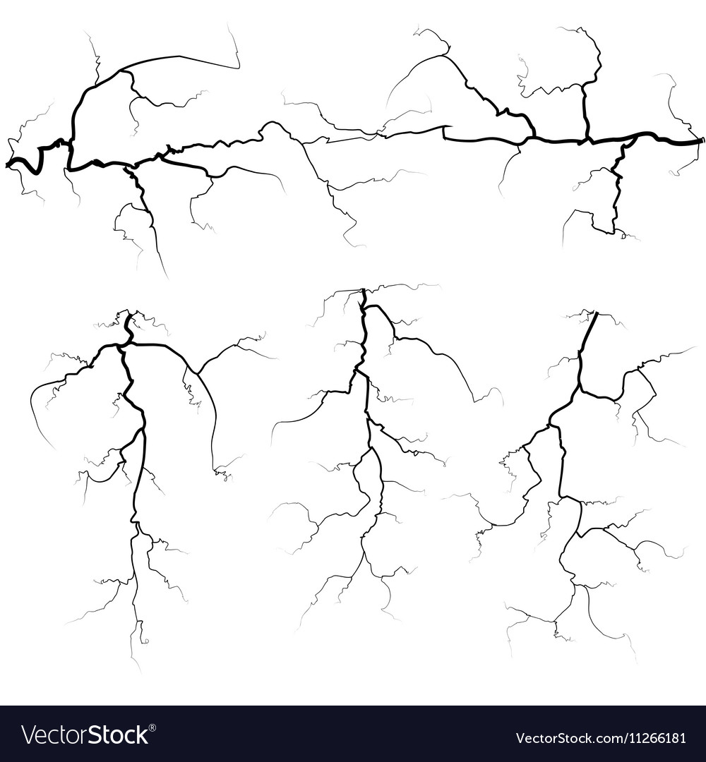 set of thunder bolts in black isolated over white vector image vectorstock