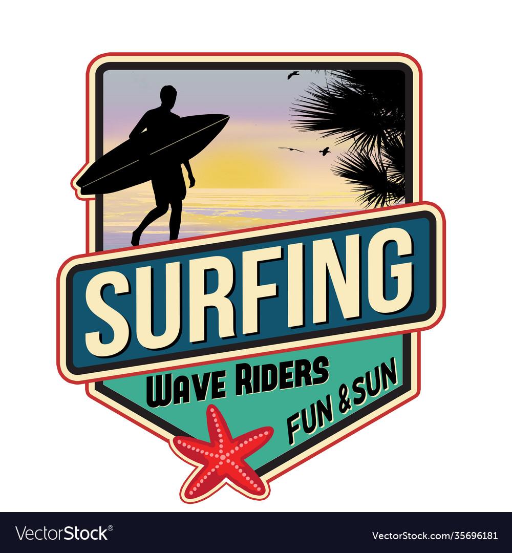 Surfing travel sticker
