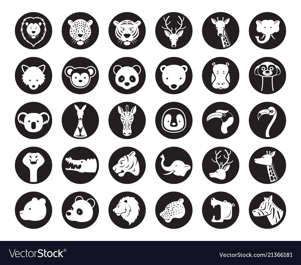 Wild animals head silhouette set