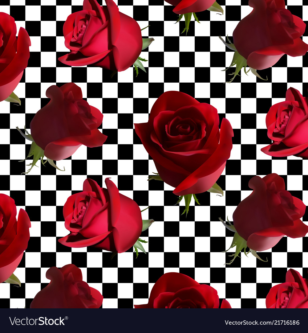 A pattern with red roses with green leaves against