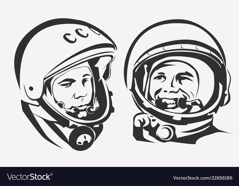 Astronaut yuri gagarin stylized symbol the first