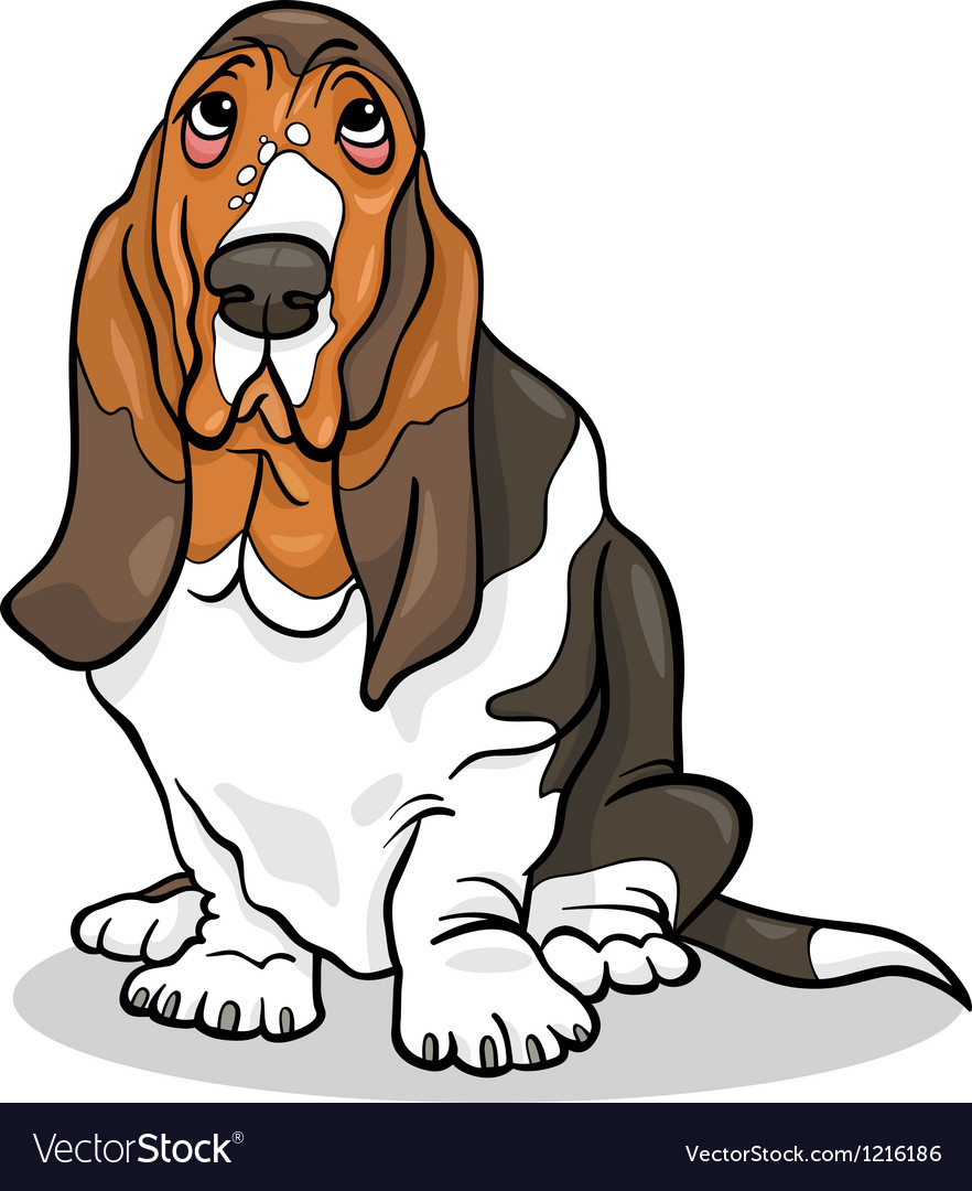 Basset hound dog cartoon