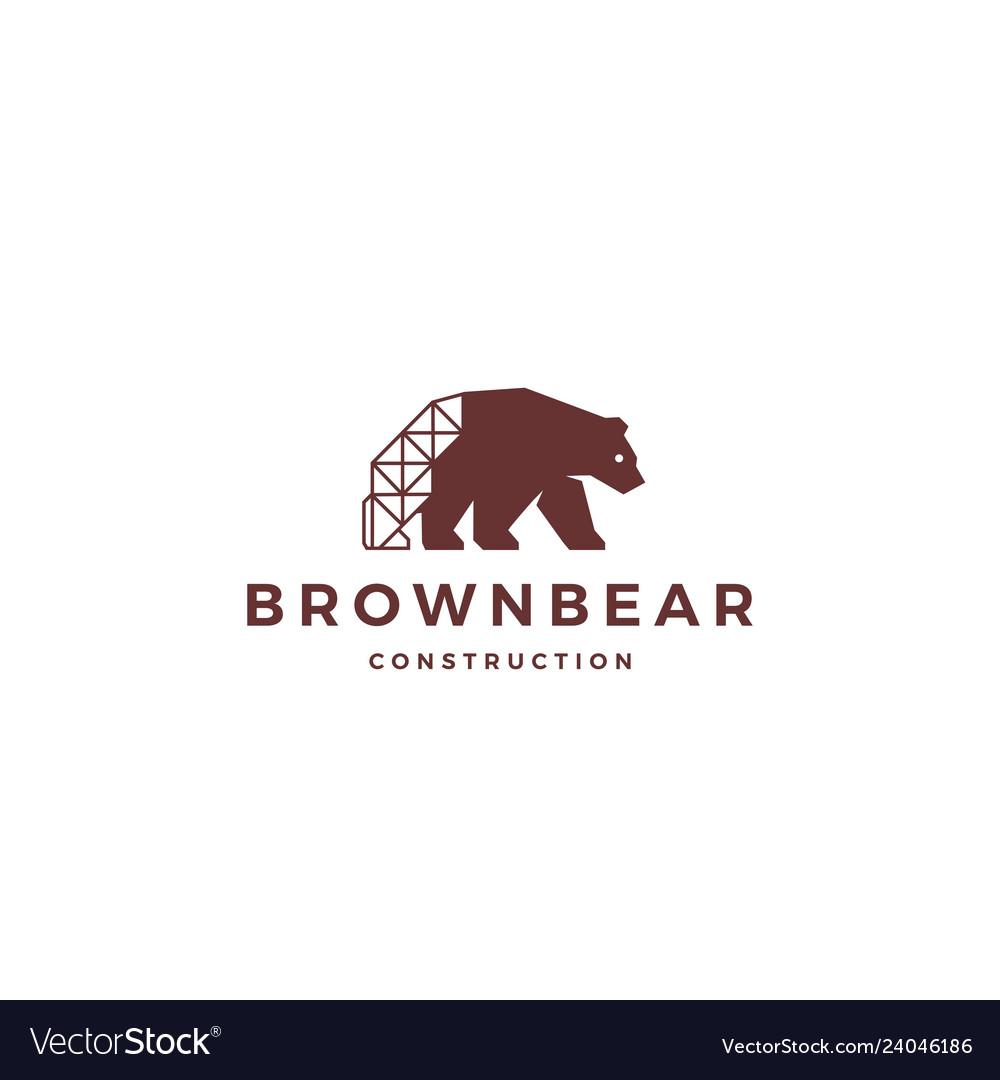 Brown bear construction logo icon