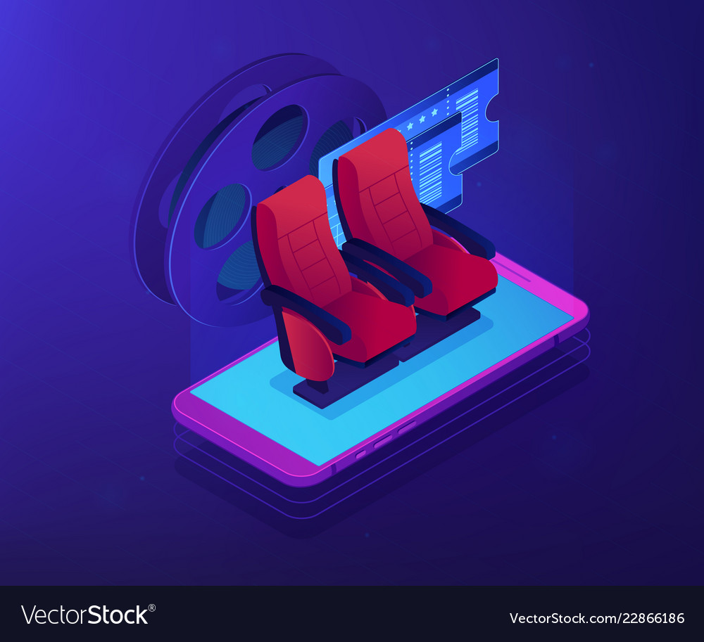 Buying tickets online isometric 3d concept