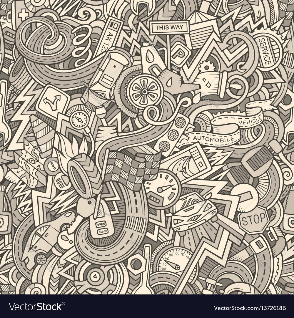 Cartoon cute doodles hand drawn cars seamless