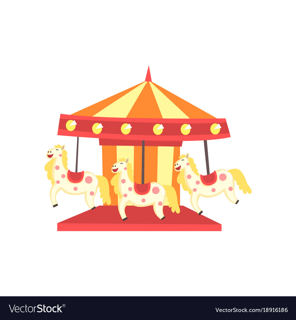 colorful carnival carousel with horses funfair or vector image