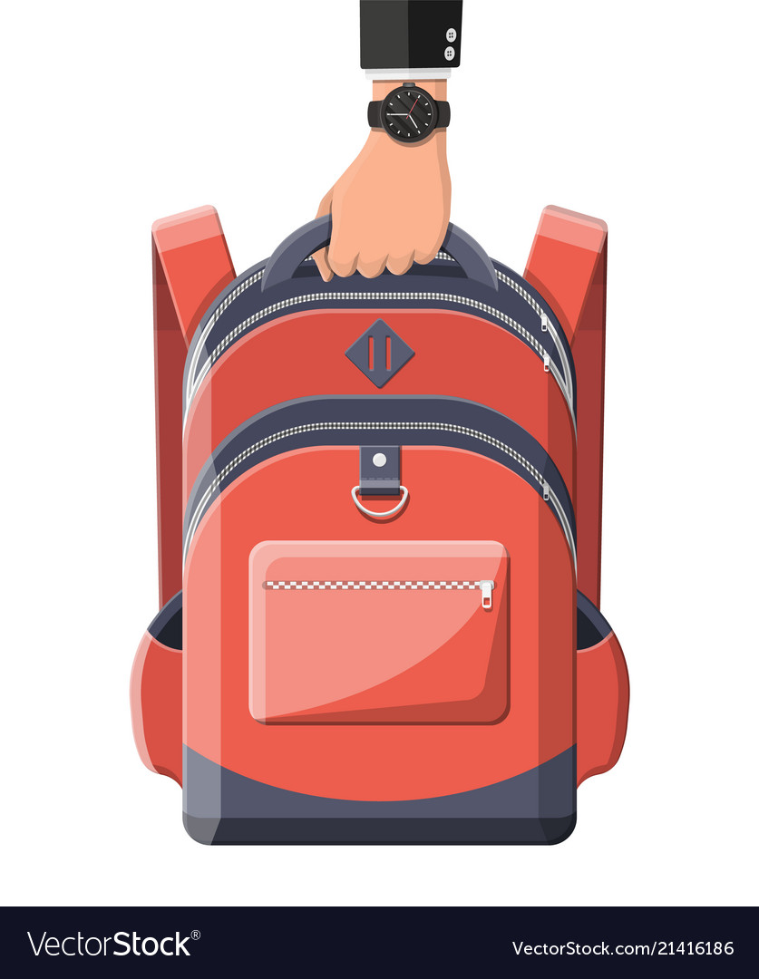 Colorful school backpack in hand