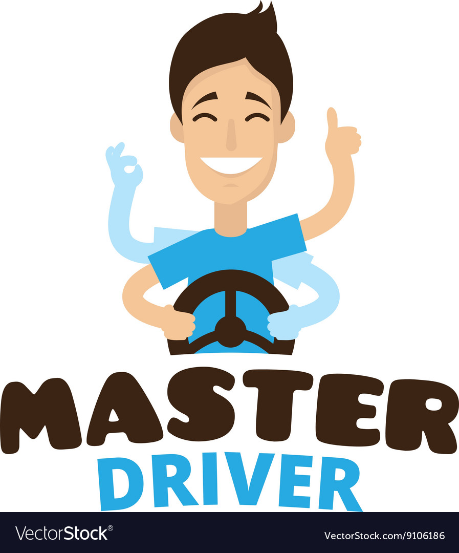 Cute cartoon style mascot driver school