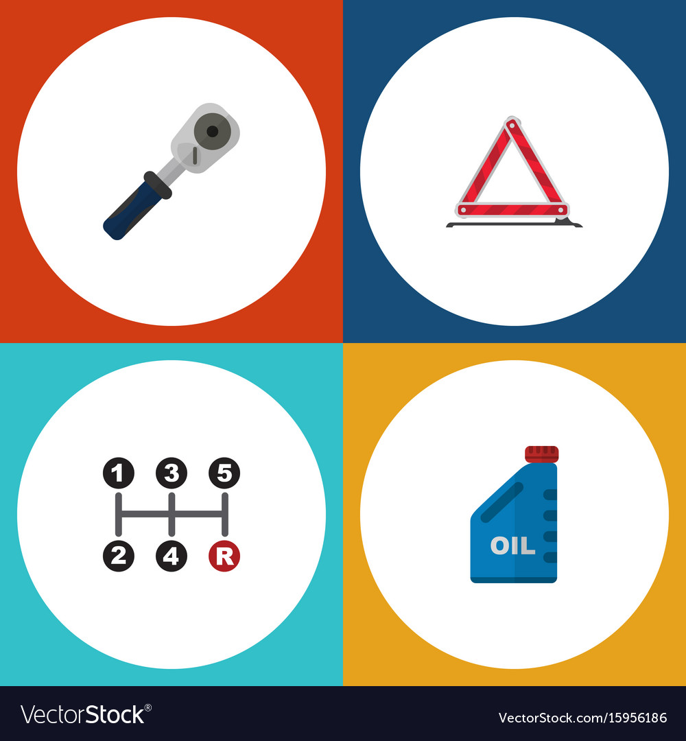 Flat icon auto set of petrol ratchet warning and vector image