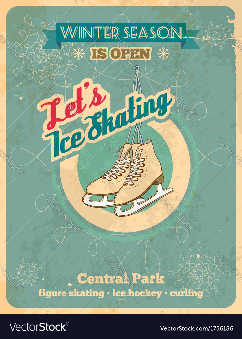 Ice skating retro poster vector image