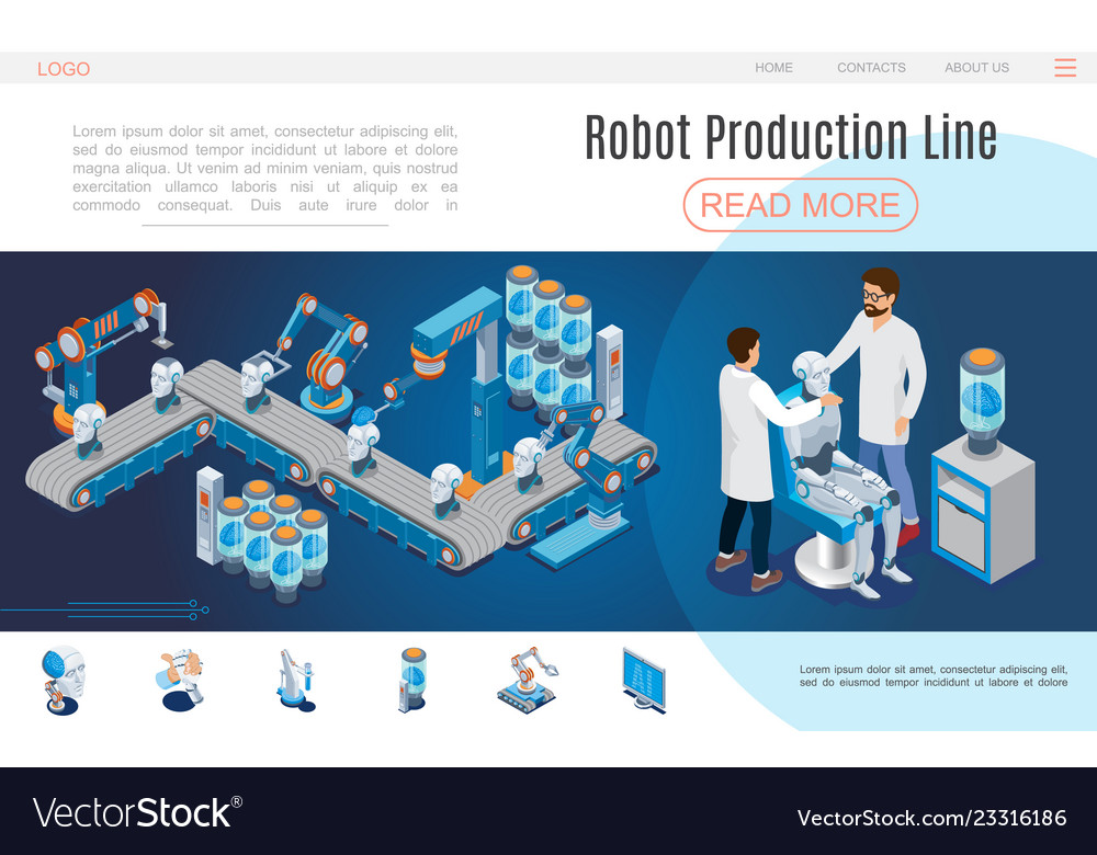 Isometric artificial intelligence website template