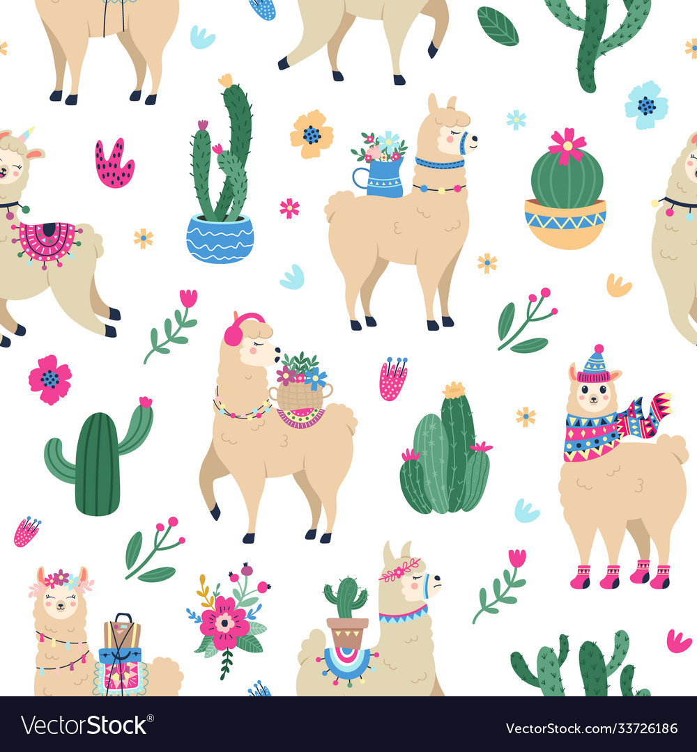 Llama and cactus pattern cute seamless hand drawn