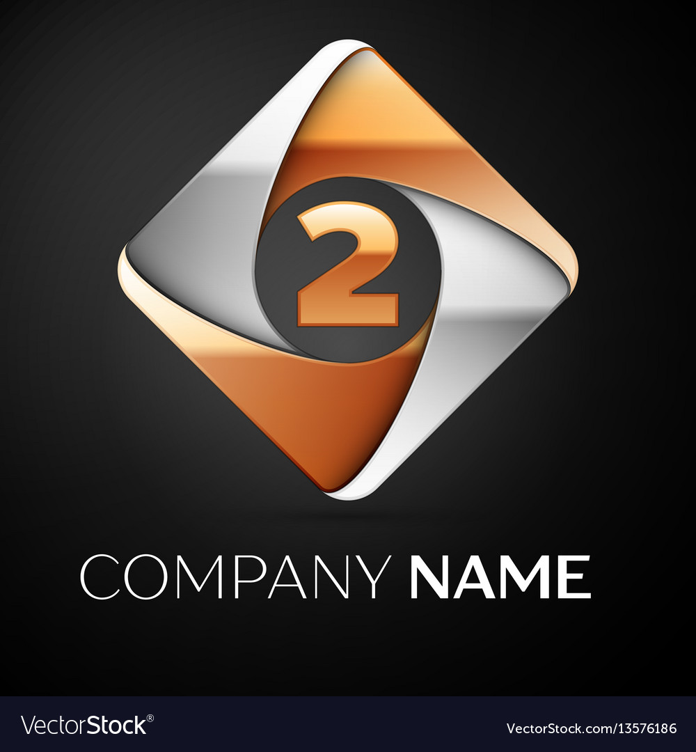 Number two logo symbol in the colorful rhombus on vector image
