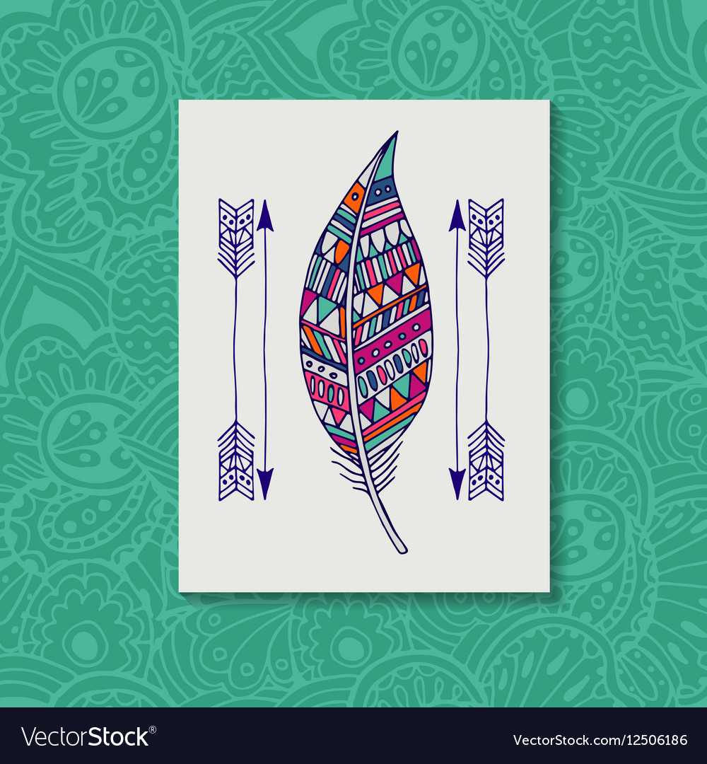 Pattern with the image of bird feathers Boho
