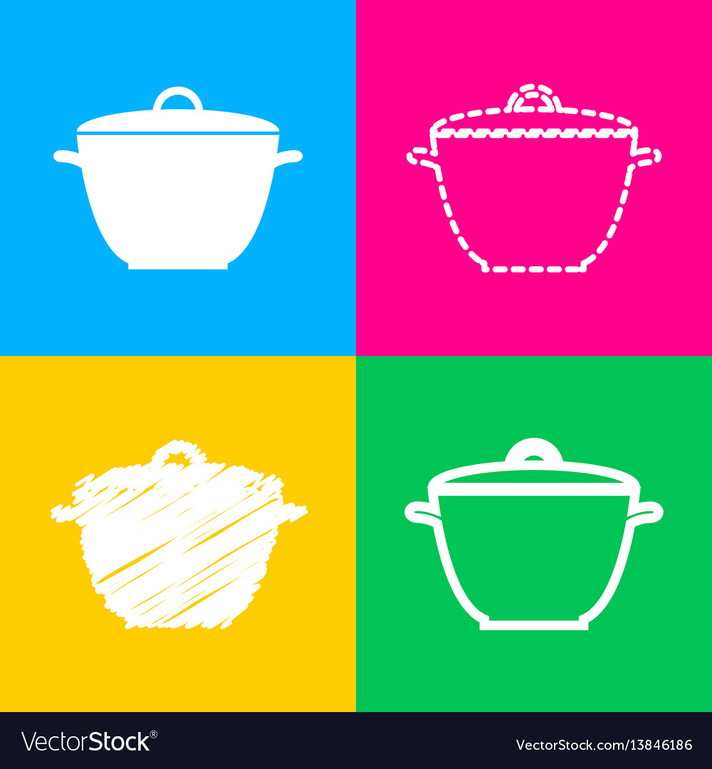 Saucepan simple sign four styles of icon on four