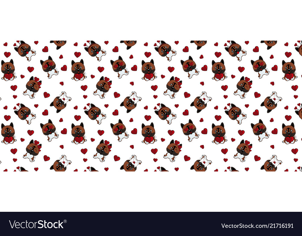 A pattern with small brown dogs with red hearts on