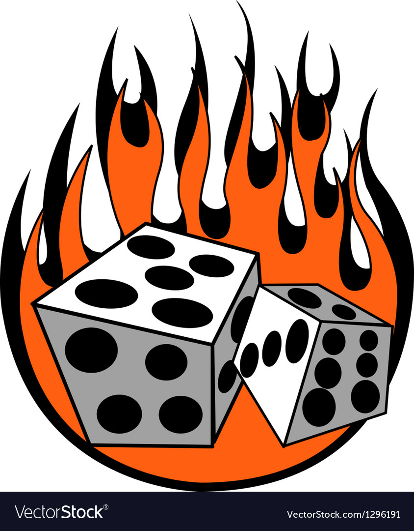 Dice with flames