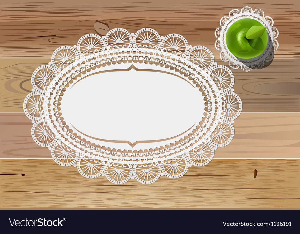 Doily mats and apple