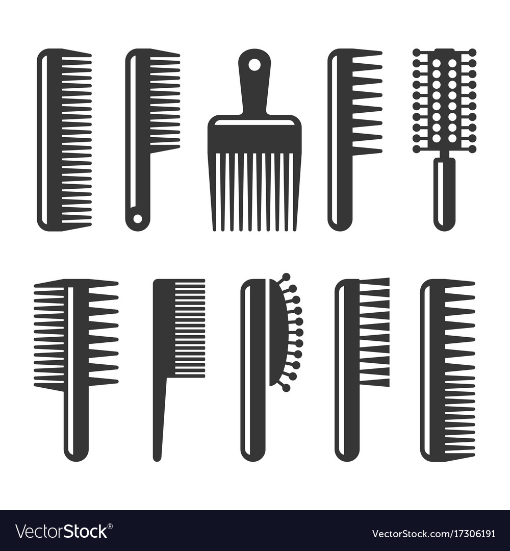 Hair combs and hairbrushes icons set