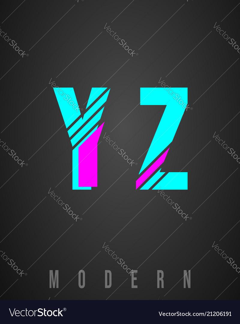 Letter font modern design set of letters y z